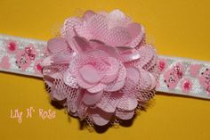 Pink Tulle Puff Flower and by LilyNRoseHeadbands, Pink Tulle, Baby Headbands, Flowers, Stuff To Buy, Accessories, Fashion, Moda, Fashion Styles, Royal Icing Flowers