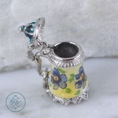 Vintage Sterling Silver - BEAU 3D Floral ENAMEL Coffee Pot 3.9g - Charm Pendant