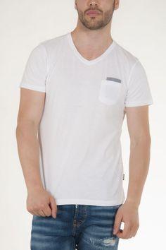 Μπλουζάκι κοντομάνικο λευκό με τσεπάκι στο πλάι μπροστά αντρικό sorbino