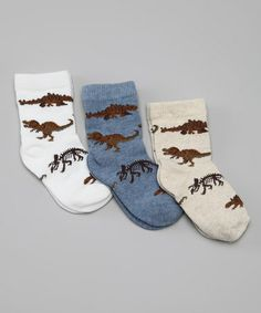 Take a look at this White, Beige & Blue Dinosaur Socks Set by Little Bettys and Beaus on #zulily today!