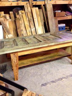 Vintage Modern Salvaged Door Coffee Table by WoodWorksbyJared