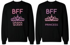 BFF Matching sweatshirts, designed and printed in USA. If you are looking for a high quality matching sweatshirts, this is it! Made in USA, our couples matching sweatshirts are individually printed using a digital printer and quality is assured. Bff Shirts, Best Friend Sweatshirts, Best Friend T Shirts, Friends Sweatshirt, Best Friend Outfits, Best Friend Gifts, Best Friends, Friend 2, Matching Outfits Best Friend