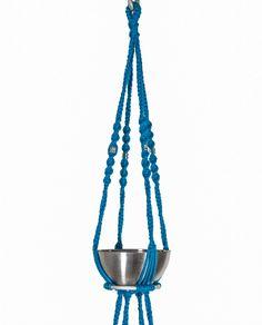 Suspension en macramé modèle Neptune ByMadjo. Coton bleu, écrou en métal, saladiers en inox Suspension macramé Suspension plante Suspension pour plantes