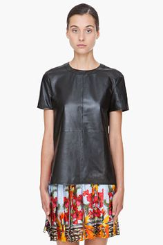 GIVENCHY Black Leather T-Shirt