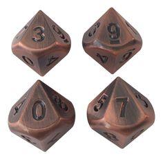 4 Pack of D10 - Antique Brass Metal Dice