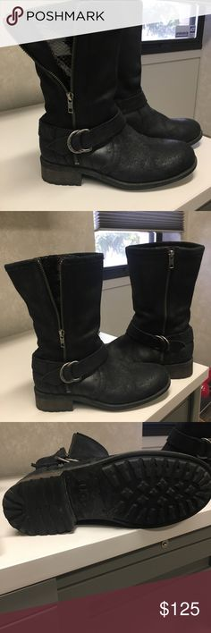 Authentic Uggs biker boots 100% Authentic UGG Silva Boots Size 8.5 Black, suede mid boot,  Zip exposes patent snake gusset  Shaft strap and metal buckle UGG Shoes