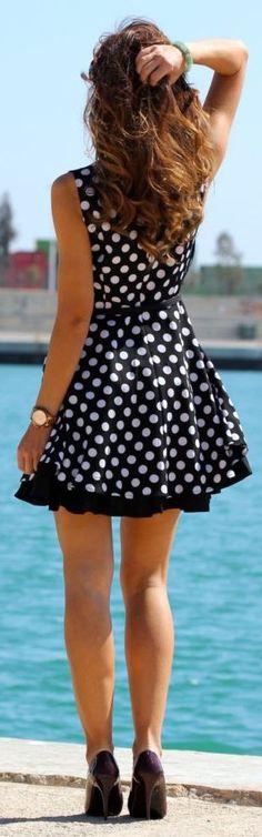 Kuka Chic Shop Black White Dots Little Dress