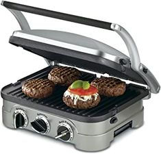 countertop unit works as a contact grill, panini press, full grill, full griddle and half grill/half griddle. Dimensions: L x W x H inches Brushed stainless-steel housing; floating cover to adjust to thickness of food. Grilling Tips, Grilling Recipes, Gourmet Recipes, Grill Panini, Panini Maker, Bbq Grill, Small Kitchen Appliances, Kitchen Gadgets, Kitchen Items