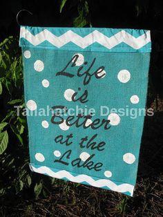 """Burlap Garden Flag* Polka Dot Garden Flag """"Life is Better at the Lake"""" Garden Flag Yard Flag"""