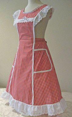 Nana& Pinafore Apron by HickoryCreekCrafts on Etsy Vintage Apron Pattern, Aprons Vintage, Vintage Sewing, Retro Apron Patterns, Vintage Dresses, Pinafore Apron, Cute Aprons, Apron Designs, Dress Designs