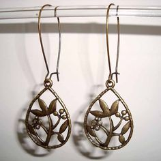 Pendant Flower Earrings Bronze Brass Long Drop Kidney