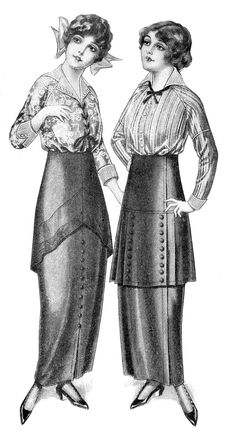 Black and White Fashion Clip Art - Edwardian Dresses - The Graphics Fairy