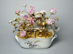 Chantilly seau a liqueurs with gilt metal branches, 18th century & later flower ...
