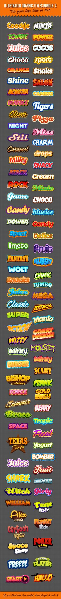 Illustrator Logo Graphic Styles Bundle 2 - Styles Illustrator