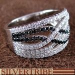 White And Black Cubic Zirconia Genuine Sterling Silver Ring