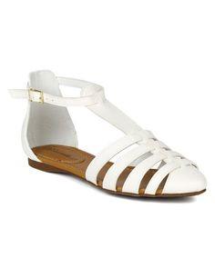 bdfe6b681 Breckelle BK71 Women Leatherette Caged Gladiator Ankle Strap Flat Sandal  White Size 85    To