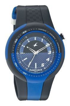 9297 is a large sporty case with an integrated strap. There are elements of blue in the case and strap. This watch also features an offset crown.. Sport from Fastrack http://www.fastrack.in/product/n9297pp01/?filter=yes=sport=2=995=3495=12
