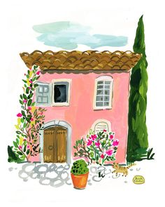 Jennifer Orkin Lewis painting art house home pink france Provence travel illustration gouache Art And Illustration, Watercolor Illustration, Watercolor Paintings, Illustrations, Gouache Painting, Painting & Drawing, Painting Inspiration, Art Inspo, Pichwai Paintings