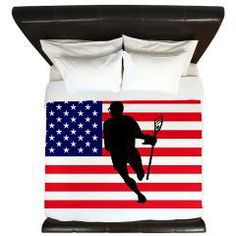 Lacrosse Flag IRock America King Duvet Get your 4th of July lacrosse swag now! YouGotThat.com