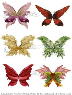 Instant Download Botanical Fairy Wings Digital Collage Sheet Enchanted Fairyland Vintage Clip Art Scrap via Etsy