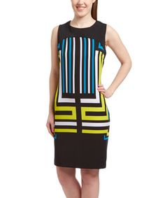 Love this Yellow & Black Geometric Sleeveless Dress on #zulily! #zulilyfinds