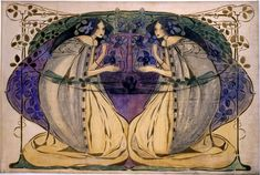 """ Frances Macdonald, her sister Margaret, Charles Rennie Mackintosh and Herbert MacNair (whom she married in 1899), belonged to the group known as 'The Four' which pioneered the Glasgow Style. """