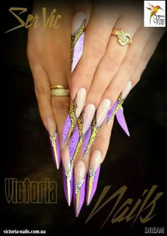 Purple and gold nails French Acrylic Nails, Long Acrylic Nails, Fingernail Designs, Nail Art Designs, Hot Nails, Hair And Nails, Long Stiletto Nails, Edge Nails, Types Of Nails