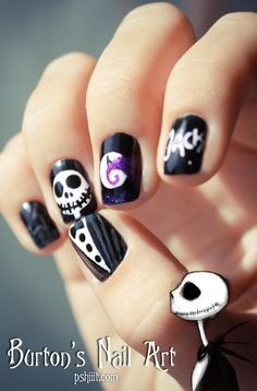 halloween - tim burton-inspired nail art