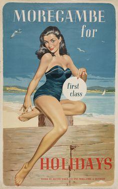 Morecambe vintage British Railways poster from NRM....reépinglé par Maurie Daboux ❥•*`*•❥