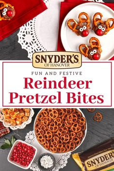 How cute are these Reindeer Pretzel Bites? Within 10 minutes you'll be set to wow your guests or kids with these adorable festive treats.   Holiday Snacks, Christmas Snacks, Christmas Cooking, Christmas Goodies, Christmas Candy, Homemade Christmas, Kids Christmas, Holiday Recipes, Christmas Recipes