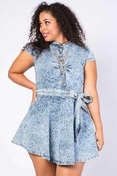 Plus Size Cute Acid Wash Flared Dress $29.99