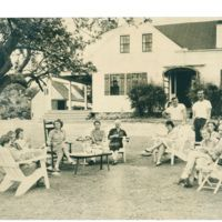 The early 1950s: afternoon lemonade under an apple tree at Chewonki.