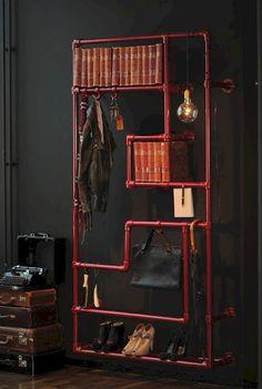 Cool 44 Creative DIY Pipe Shelves Design Ideas https://lovelyving.com/2017/09/17/44-creative-diy-pipe-shelves-design-ideas/