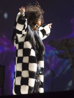 Rihanna Dilara Findikoglu black and white checkered fox fur coat, Valentino…