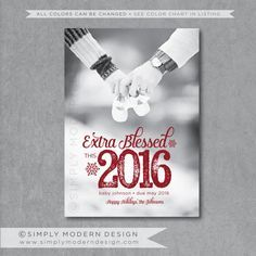 new years pregnancy announcement holiday card christmas card pregnancy announcement extra blessed this year printable or printed cards - Pregnancy Announcement Christmas Card