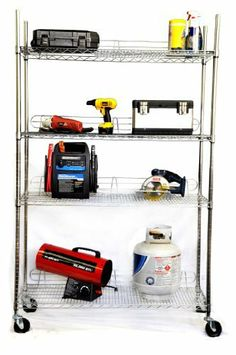 """TRINITY EcoStorageTM 4-Tier NSF 48""""x18""""x72"""" Wire Shelving Rack w/wheels - Chrome by Trinity. $104.99. TRINITY's NSF certified heavy-duty commercial grade chrome shelving rack is perfect for any industrial, home, garage, or kitchen use. Assembly requires no tools, and uses a slip-sleeve locking system. Shelves are adjustable at 1-inch increments, and allow for personal configuration. Entire shelving rack can be fixed with adjustable feet levelers or turned into a mobile unit with..."""