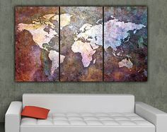 World Map Art on Canvas - Multi-Color 3 panel large canvas set.  World map poster, world map canvas, Canvas Wall art, Large Wall art, poster