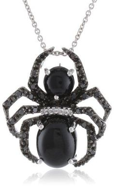 #blackdiamondgem Sterling Silver Onyx with Genuine White and Black Diamonds Spider Pendant Necklace, 18″ by Amazon Collection - See more at: http://blackdiamondgemstone.com/jewelry/necklaces/pendants/sterling-silver-onyx-with-genuine-white-and-black-diamonds-spider-pendant-necklace-18-com/