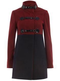 Navy and berry strap collar coat.  This is adorable!
