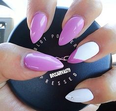 Purple and white stilettos