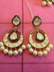 Earrings with enamel work and pearl drops
