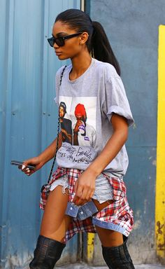 NYFW Model Off Duty Denim Cutoffs Jean Shorts Waist Plaid Chanel Iman Supreme T Shirt Tee Red Plaid Tied Around Waist Chanel Bag Wayfarer Su...