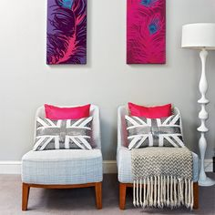 Peacock in pink with the grey armchairs