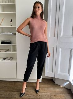 DEXTER PANT - Pull-on tuxedo pants Blouse And Skirt, Blouse Dress, Jacket Dress, Turtleneck Style, Sleeveless Turtleneck, Slim Fit Tuxedo, Tuxedo Pants, Twirl Skirt, Pants For Women