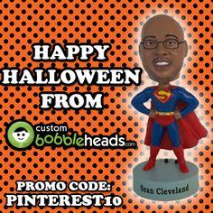 Trick r' treat!! Get 10% off your custom #bobblehead order using the code PINTEREST10 at checkout. Offer expires 11/10/13. Build your bobblehead today: http://www.custombobbleheads.com/fully-customized-bobbleheads/products.html