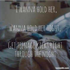 The Undertones - Teenage Kicks Lyric Art, Song Lyrics, The Undertones, Image Caption, Teenage Dream, I Miss You, Good Music, Kicks, Dreams
