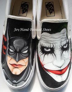 Batman Shoes Hand Painted Shoes Custom Painted Slip On Shoes Hand Painted Custom Joker Batman Black Shoes Vans Canvas Shoes, Painted Canvas Shoes, Custom Painted Shoes, Painted Vans, Painted Sneakers, Hand Painted Shoes, Fab Shoes, Slip On Shoes, Black Shoes