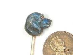 BEAUTIFUL ANTIQUE 15K GOLD FINELY CARVED LABRADORITE DOG HEAD STICKPIN c1800's