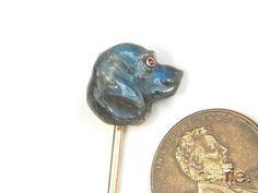 BEAUTIFUL ANTIQUE 15K GOLD FINELY CARVED LABRADORITE DOG HEAD STICKPIN c1800's