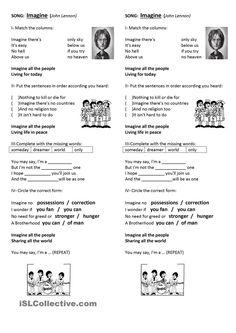 Imagine - John Lennon worksheet - Free ESL printable worksheets made by teachers Listening English, English Language Learning, Teaching English, Imagine John Lennon Lyrics, Imagine Lyrics, English Tips, English Lessons, Learn English, John Lenon